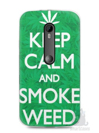 Capa Moto G3 Keep Calm and Smoke Weed
