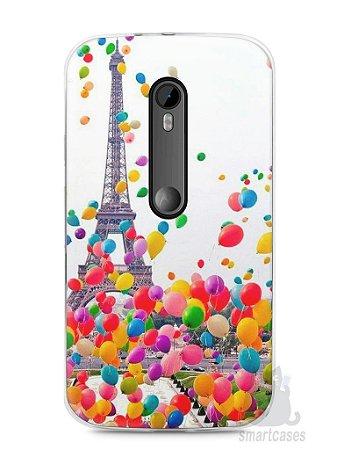 Capa Moto G3 Torre Eiffel e Balões