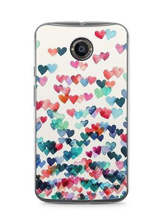 Capa Moto X2 Corações Coloridos