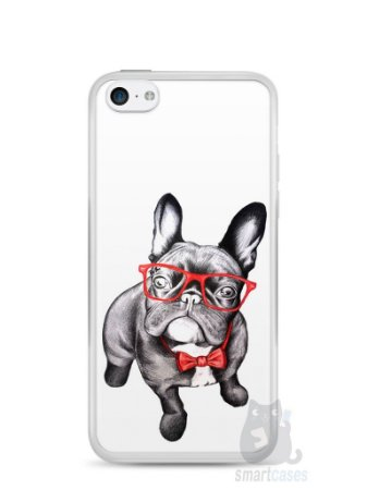Capa Iphone 5C Cachorro Bulldog Francês Estiloso