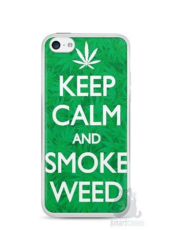 Capa Iphone 5C Keep Calm and Smoke Weed