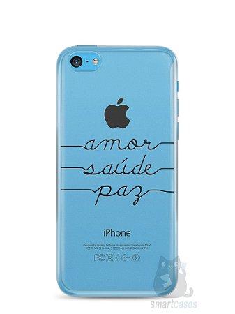 Capa Iphone 5C Amor Saúde Paz