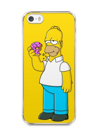 Capa Iphone 5/S Homer Simpson Comendo Donut