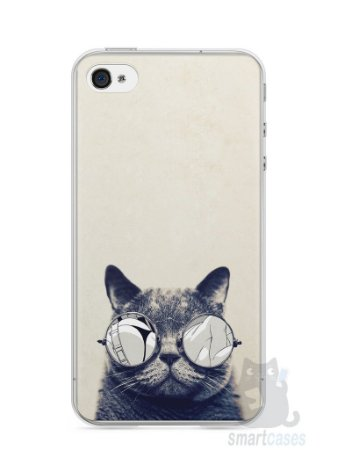 Capa Iphone 4/S Gato Com Óculos