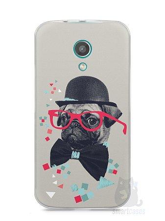 Capa Moto G2 Cachorro Pug Estiloso #1