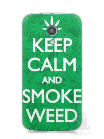 Capa Moto G2 Keep Calm and Smoke Weed