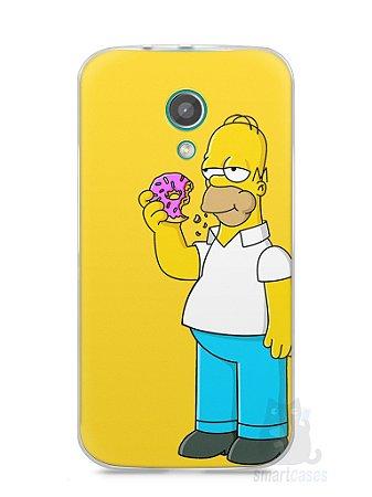 Capa Moto G2 Homer Simpson Comendo Donut