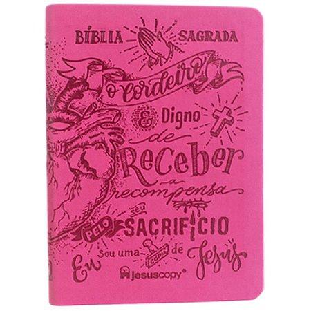 Bíblia JesusCopy Lettering - Pink (Nova Almeida Atualizada)