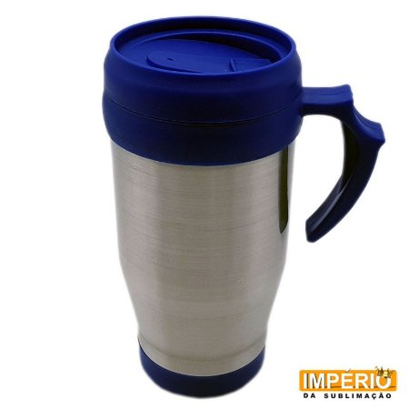 Caneca Térmica Tampa e Base Azul (500 ml P/ Sublimação)