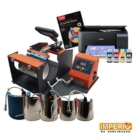Kit Prensa de Caneca Mecolour 6x1 + Impressora Epson L3150