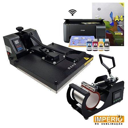 Kit Prensa Plana 38x38  Deko + Prensa de Caneca Deko  Painel Lateral  + Impressora Epson L3150