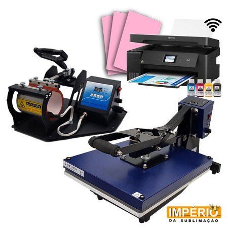 Kit Prensa Plana 40x50 Mundi + Impressora Epson A3 L14150 + Prensa de Caneca Térmica