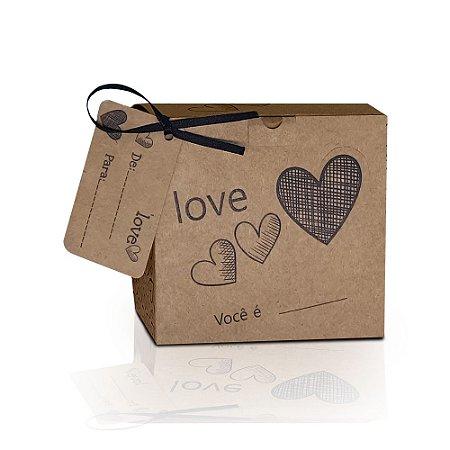 """Caixinha Kraft para Azulejo 20x20 """"Love"""" - 10 unidades"""