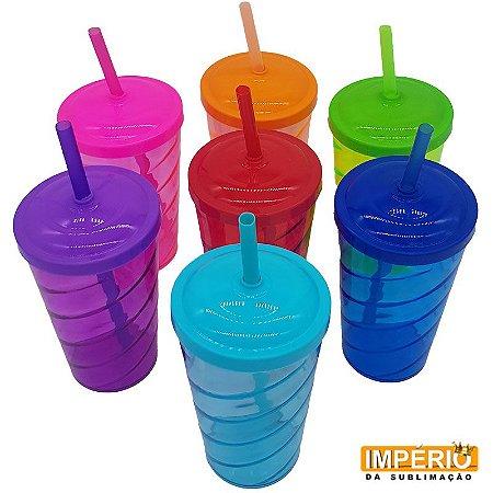 Copo Twister Acrílico Transparente Varias Cores 500ml