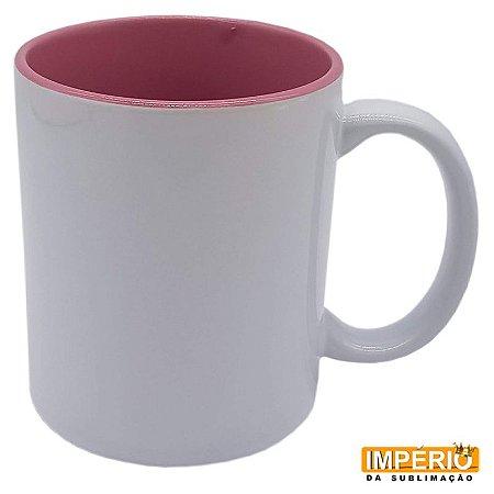 Caneca branca de cerâmica com interior rosa Live