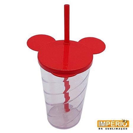 Copo Mickey Cristal Tampa e Canudo Vermelho