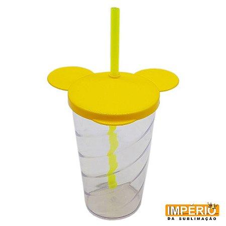 Copo Mickey Cristal Tampa e Canudo Amarelo