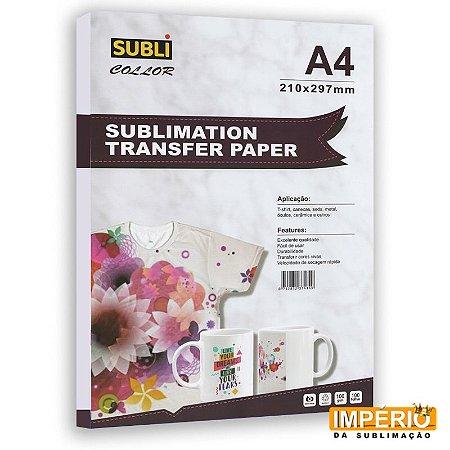 Papel A4 SubliColor 100g. P/ Sublimaçao PCT C/100f.