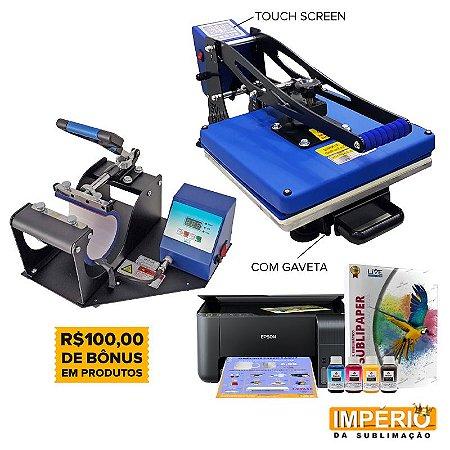 kit prensa plana 38x38 touch screen live com gaveta