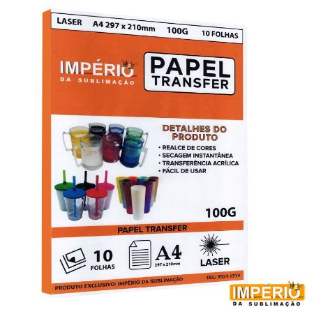 Papel Laser Transfer 100g. - 10 folhas