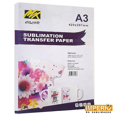 Papel A3 Mix Color Rosa 100G para Sublimação - 100 folhas