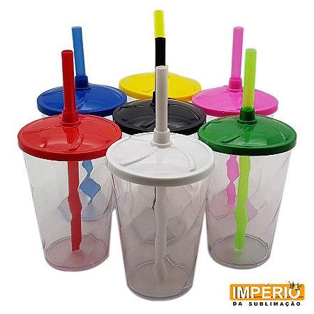 Copo Twister Transparente com tampa colorida 300ml