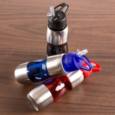 Squeeze Alumínio 600ml com alça plástica e bico de canudo