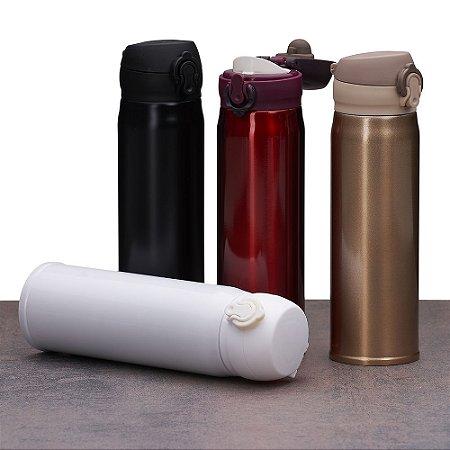 Garrafa térmica de 400ml de metal colorida com botão e válvula para abertura.