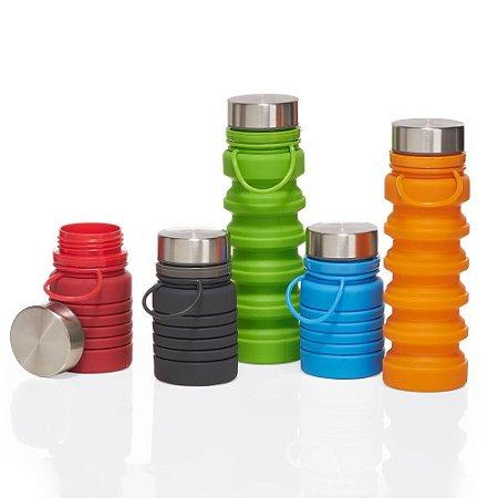 Garrafa Retrátil 600ml produzida em silicone livre de BPA