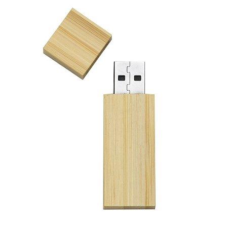 Pen drive 4GB de bambu com tampa de imã, frente e verso lisos.