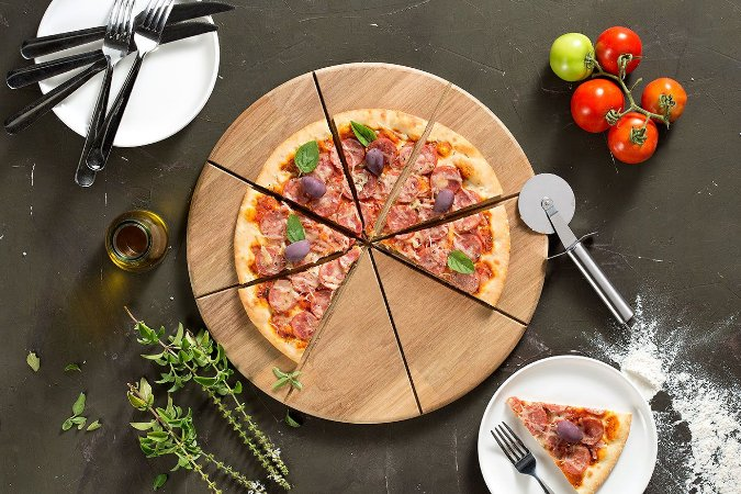 Tábua Pizza Cortador e espátula