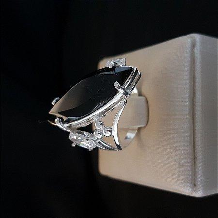 f7bf13e0a8 Anel de prata legítima com pedra Ônix - Companhia da Prata - Jóias ...