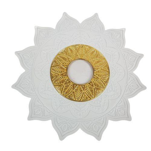 Prato Flowers - Branco e Dourado 3