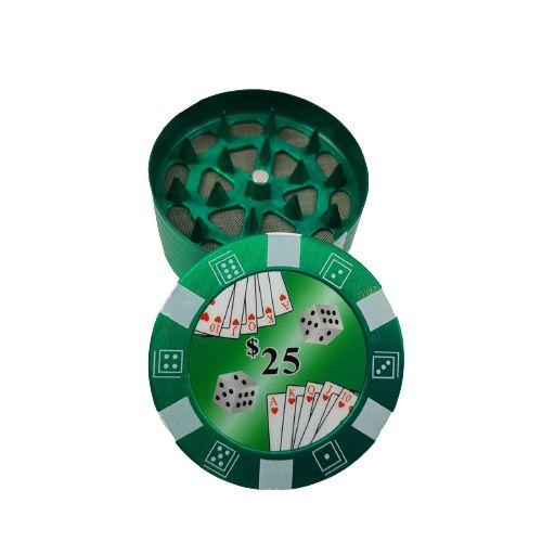 Dichavador Metalico 3 Partes Poker - Verde
