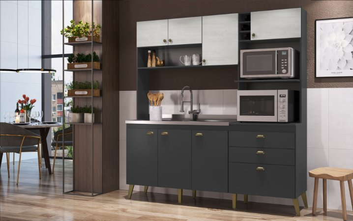 Cozinha Completa Compacta Donna Grafite/Snow Casa Mia
