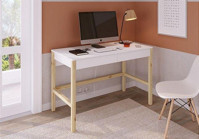 Escrivaninha Solution 120cm Branco/Madeira Pinus Natural Artesano