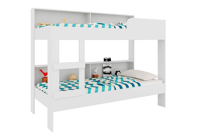 Beliche Cama Infantil Com Estante 80cm Miami Branco
