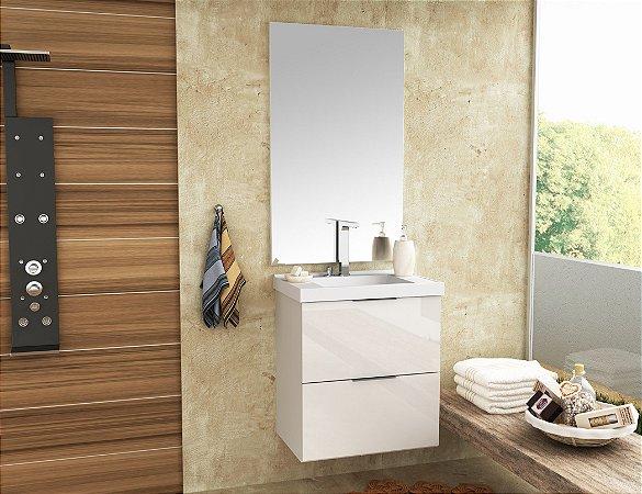 Conjunto de Banheiro Gabinete c/Espelho Pietra 60cm Branco/Branco Brilho - Bosi