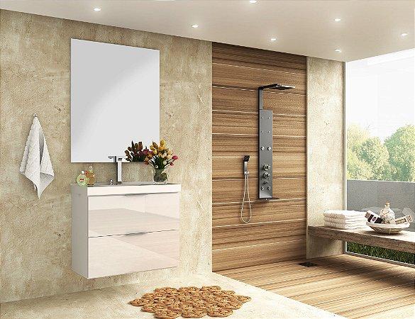 Conjunto de Banheiro Gabinete c/ Espelho Pietra 80cm Branco/ Branco Brilho - Bosi