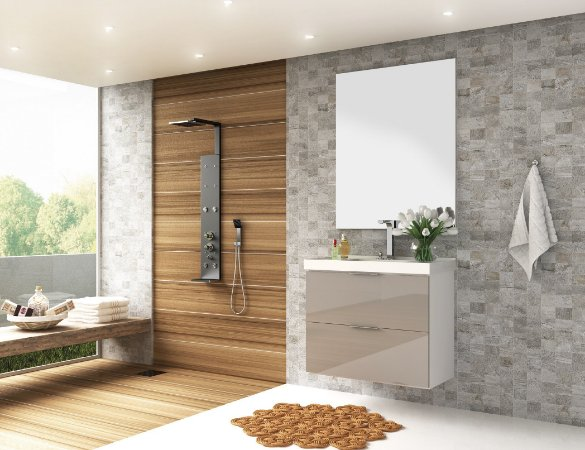 Conjunto de Banheiro Gabinete c/ Espelho Pietra 80cm Branco/Gianduia Brilho - Bosi