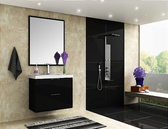 Conjunto de Banheiro Gabinete c/ Espelho Pietra 80cm Preto/Preto Brilho - Bosi
