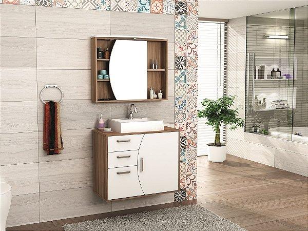 Conjunto de Banheiro Gabinete c/ Espelho Duna 80cm Nogueira/Branco - Bosi