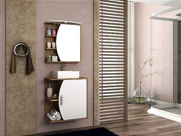 Conjunto de Banheiro Gabinete c/ Espelho Duna 60cm C/ Cuba Chanel Nog Cadiz/Br - Bosi