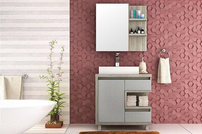 Conjunto de Banheiro Gabinete c/ Espelho Malbec 80cm Barrique/Argento - Bosi
