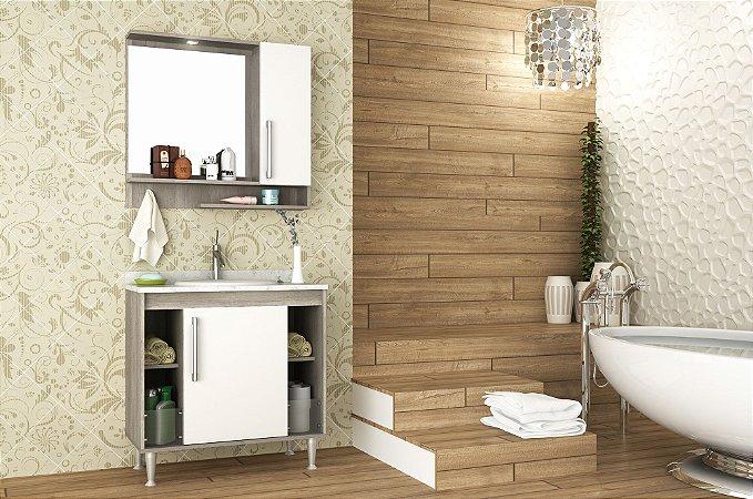 Conjunto de Banheiro Gabinete c/ Espelho Brisa 80cm Barrique/Branco c/ Marmore Branco - Bosi