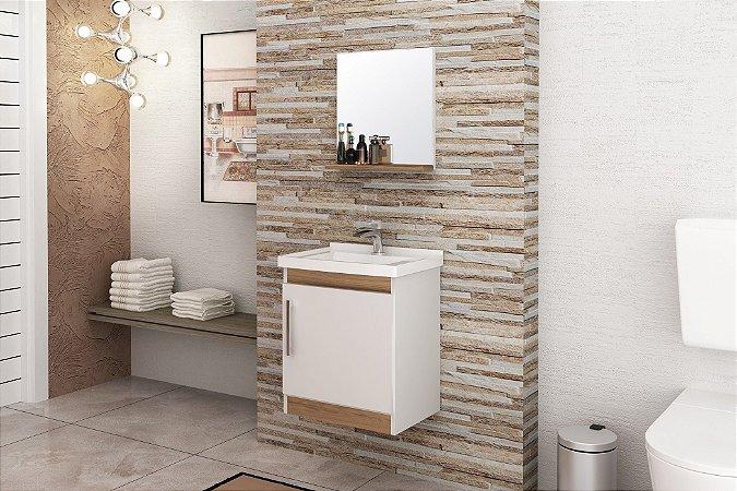 Conjunto de Banheiro Gabinete c/ Espelho Economica 46cm Branco / Nogal - Bosi