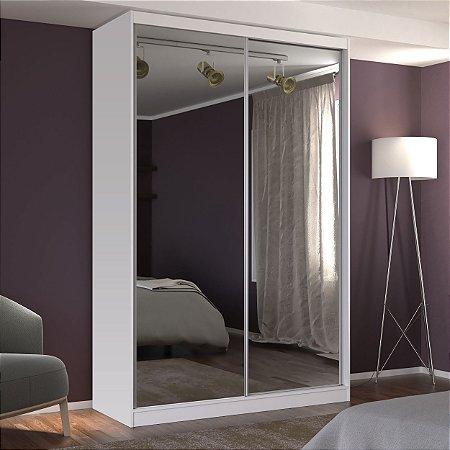 Guarda-Roupa Solteiro 2 Portas com 2 Espelhos 100% MDF Branco Foscarini