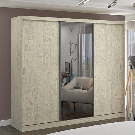 Guarda-Roupa Casal 3 Portas com 1 Espelho 100% MDF Marfim Areia Foscarini