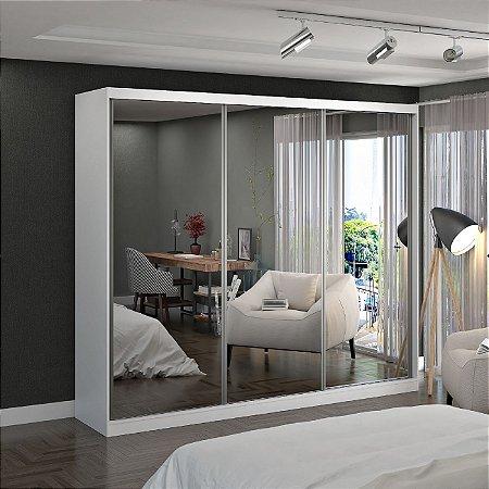 Guarda-Roupa Casal 3 Portas com 3 Espelhos 100% MDF Branco Foscarini