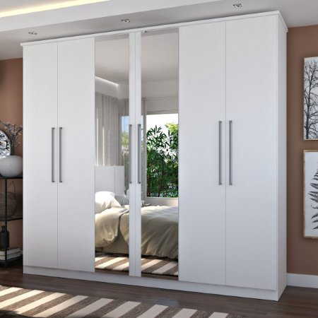 Guarda-Roupa Casal 6 Portas Com 2 Espelhos 100% MDF Branco Foscarini